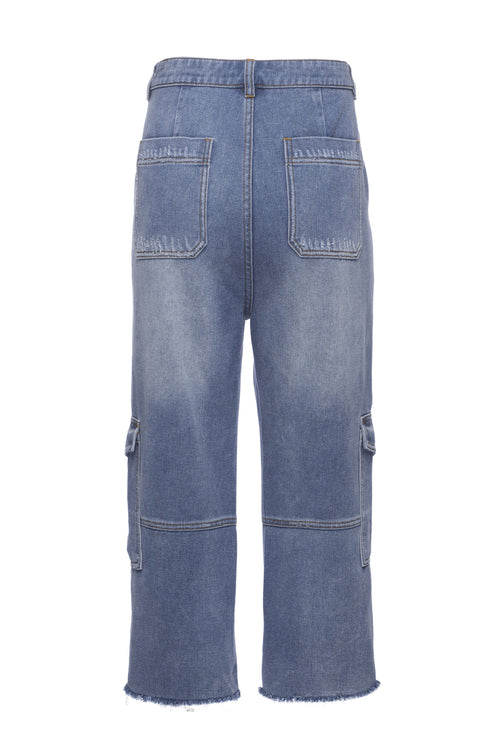 Robert Rodriguez Studio Denim Drop Crotch Crop Cargo Pant. Medium Wash.