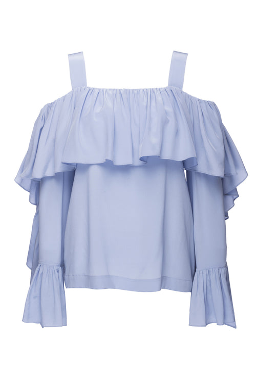 Robert Rodriguez Studio Cold Shoulder Top. Offered in Blue and Black. Ruffles, Cold Shoulder, Spring 2017 Collection