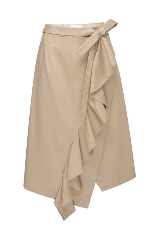 Asymmetric Khaki Ruffle Skirt. Linen, Cotton, and Elastane. Robert Rodriguez Spring 2017 Collection