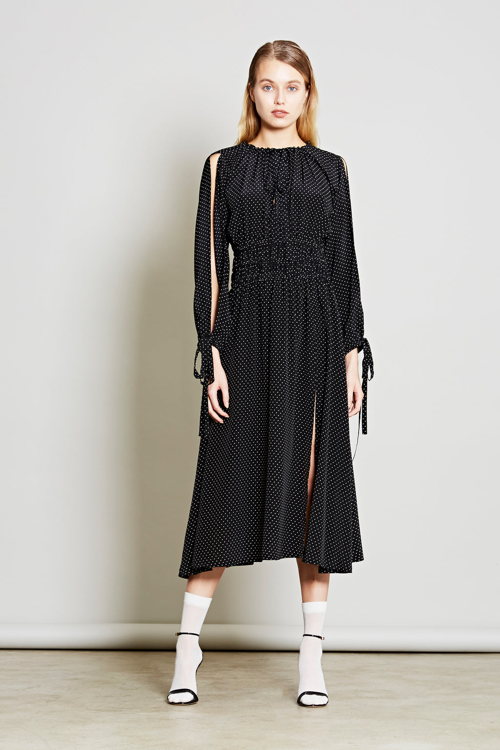 Robert Rodriguez Studio Women's Designer Fashion Resort 2018 Cold Shoulder Polka Dot Dress