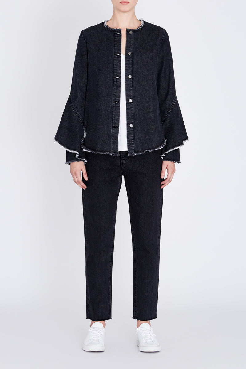 Robert Rodriguez Studio Black Denim Ruffle Shirt