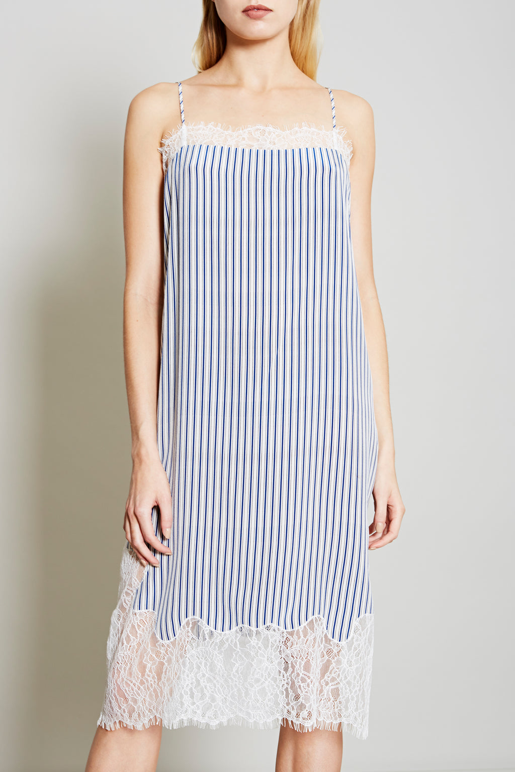 Robert Rodriguez Studio Women's Designer Fashion Blue Stripe Dress with Lace Trim