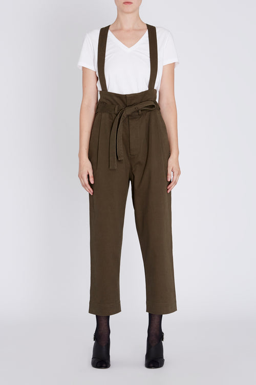 Robert Rodriguez Studio Olive High Waisted Pant with Flap and Detachable Suspenders