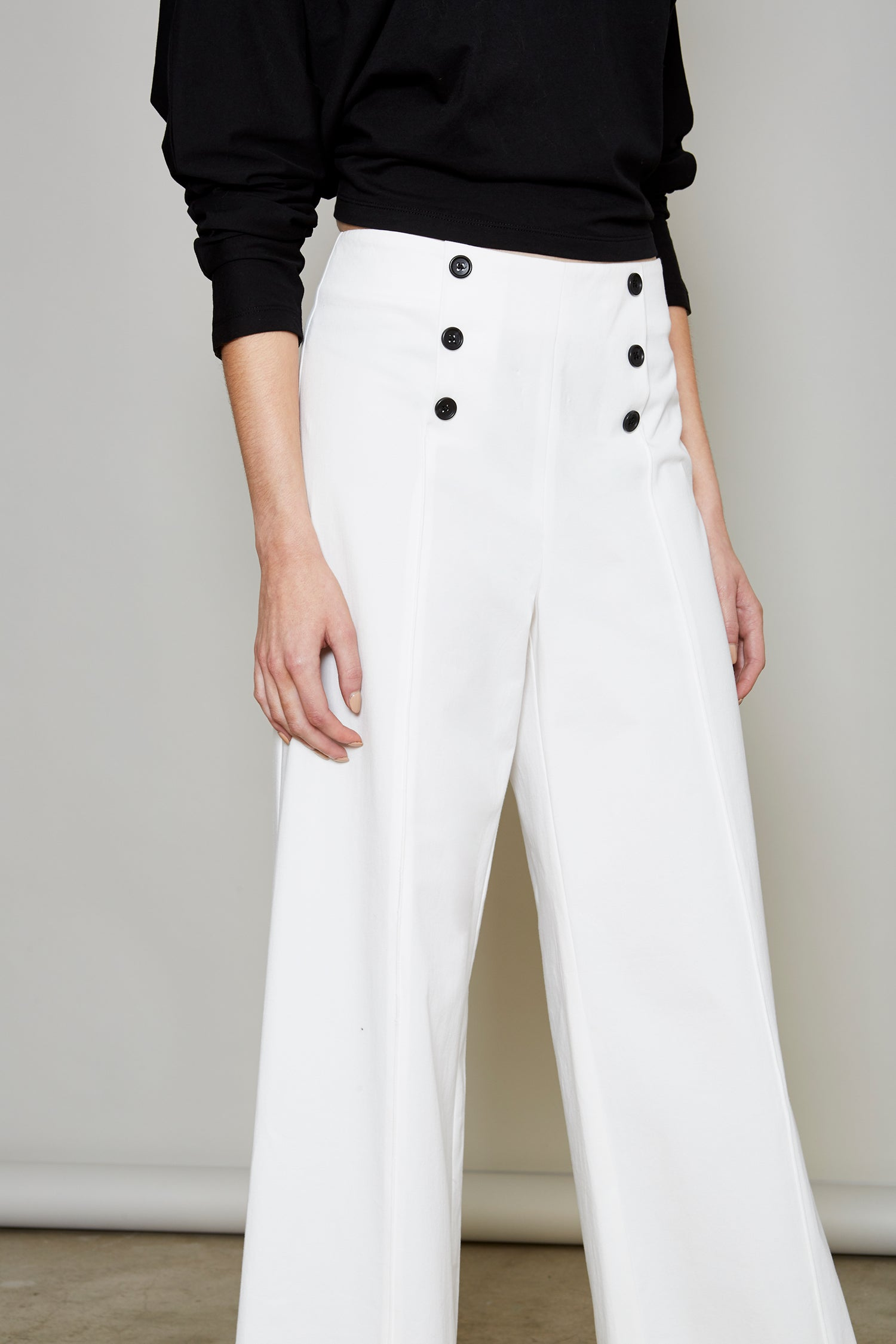 Robert Rodriguez Studio Women's Fashion Designer High Waisted Ivory Sailor Pant