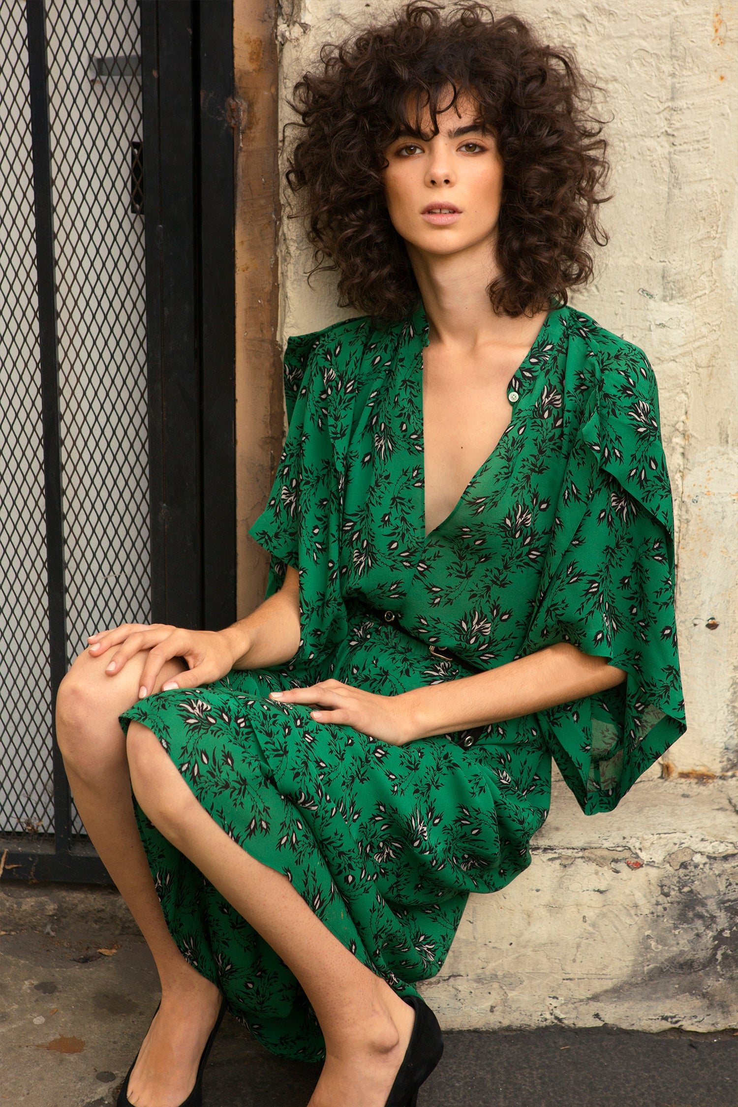 Japanese Floral Dress Robert Rodriguez Studio Emerald Orchid Pre Fall 2018