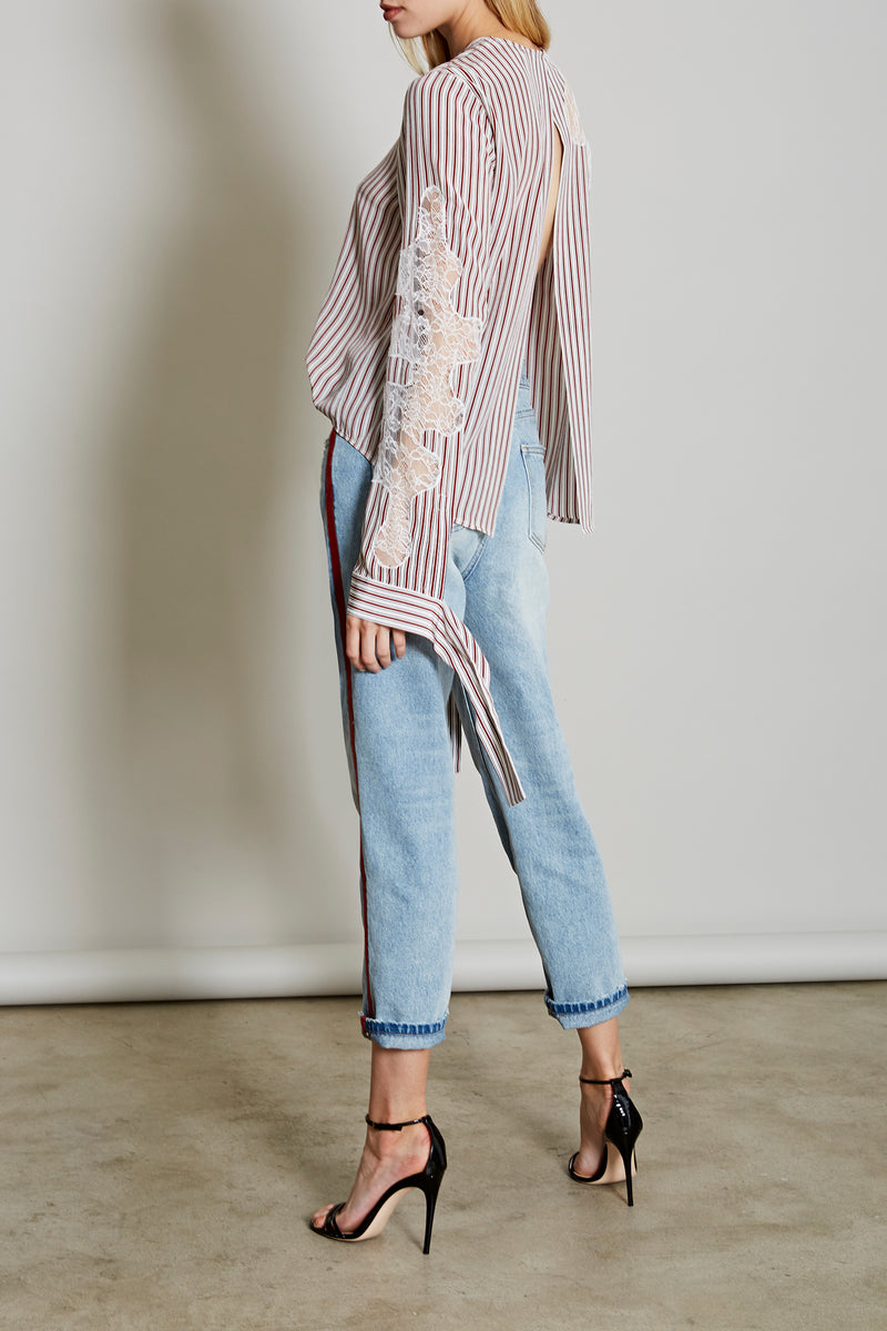 Robert Rodriguez Studio Women's Fashion Resort 2018 Lace Inserted Stripe Blouse