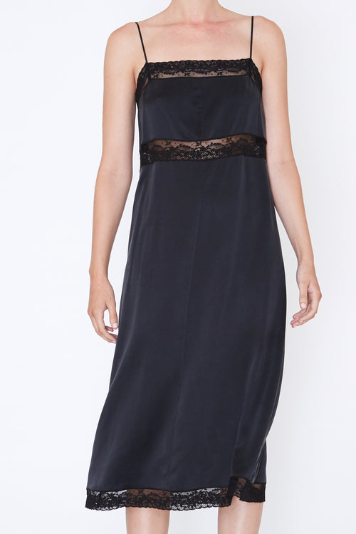 ROBERT RODRIGUEZ LACE TRIM SLIP DRESS