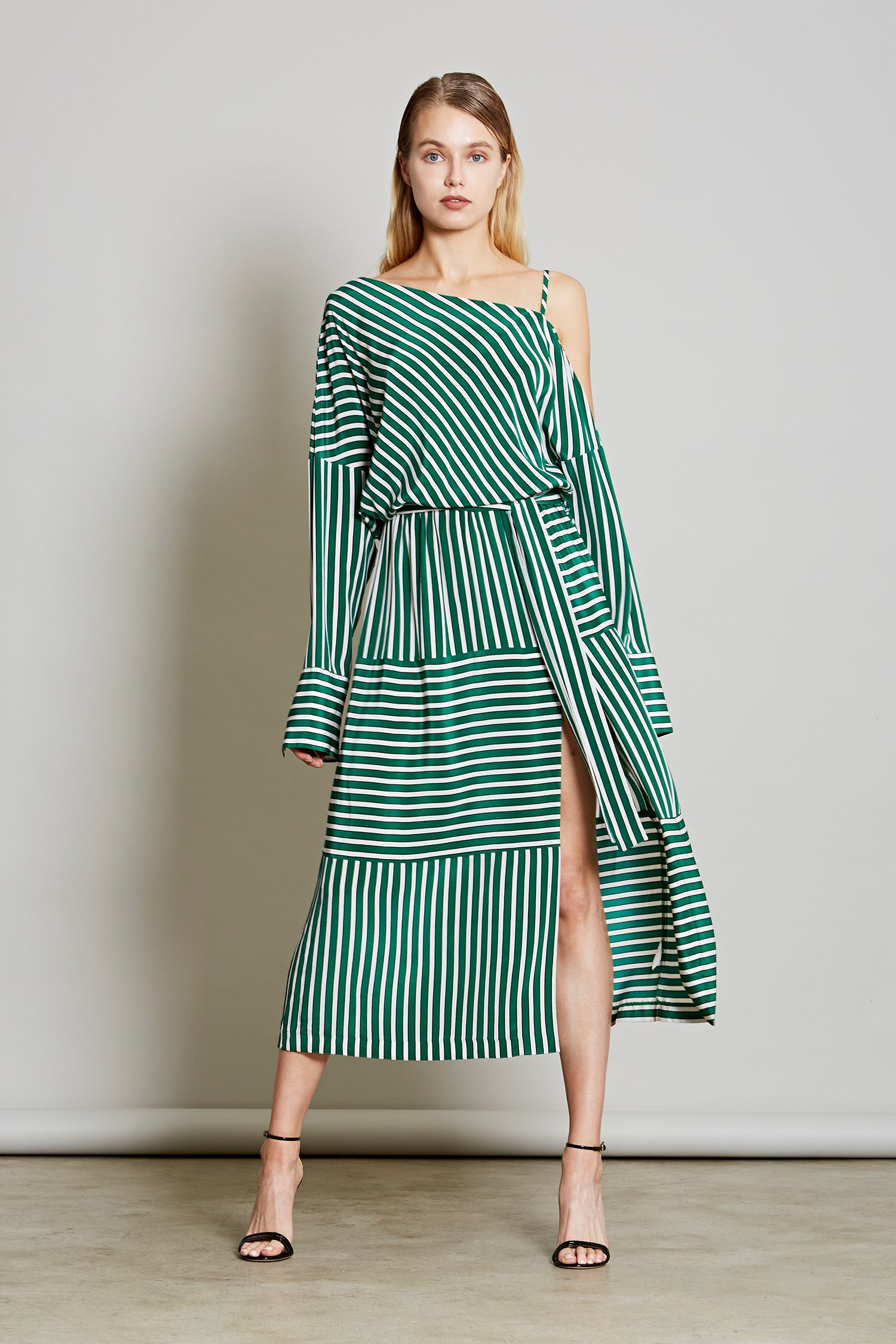 Robert Rodriguez Studio Women's Fashion Designer Large Stripe Cold Shoulder Dress