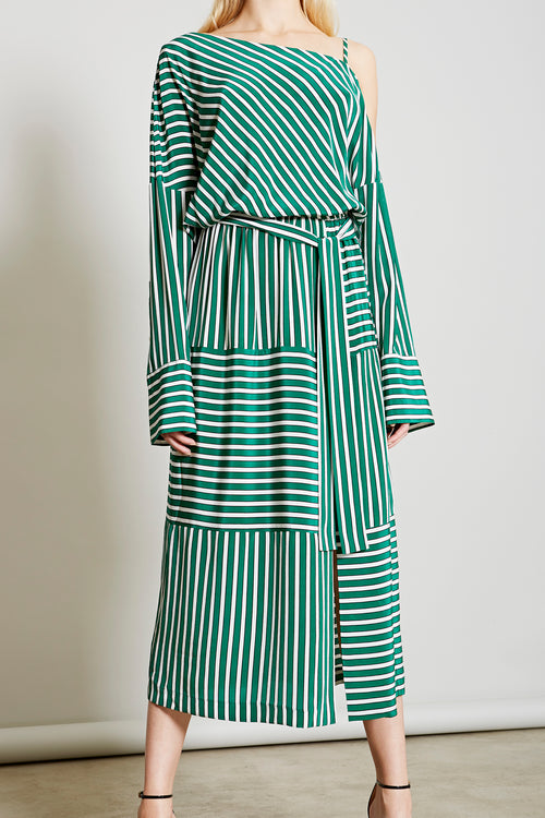 ROBERT RODRIGUEZ STUDIO LARGE GREEN STRIPE COLD SHOULDER DRESS