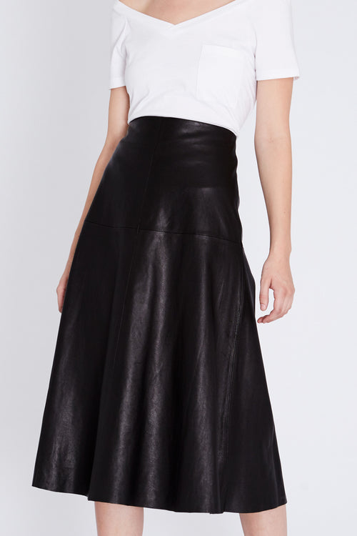 Robert Rodriguez Studio Black Leather Skirt