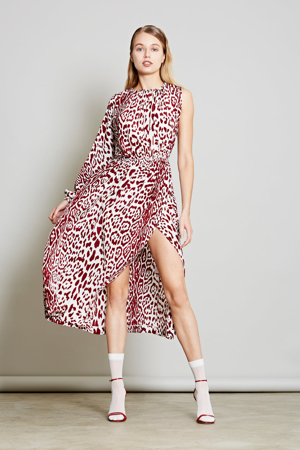 Robert Rodriguez Studio Women's Fashion Designer Resort 2018 Leopard Print Silk Dress