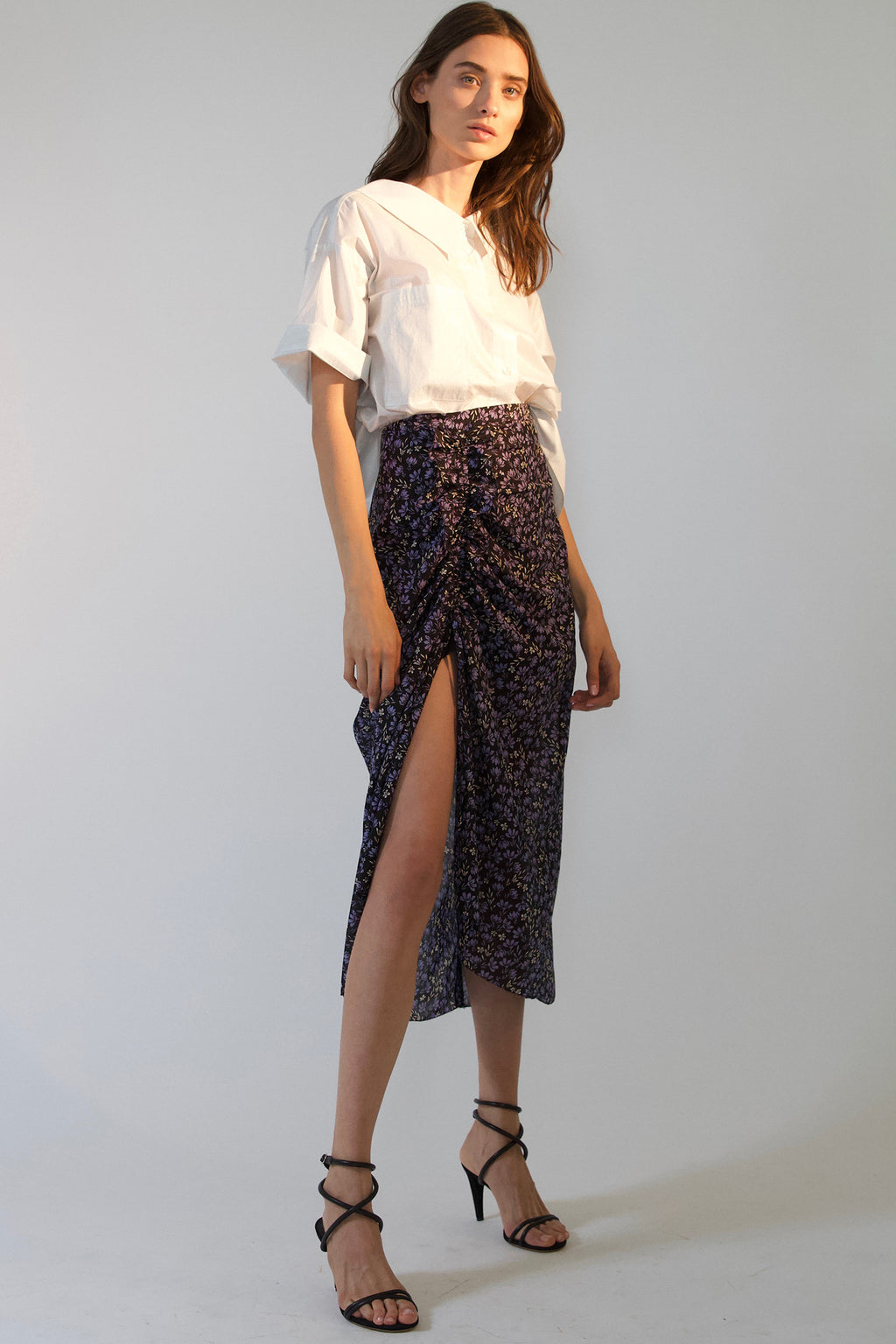LILY RUCHED SKIRT, Skirt - Robert Rodriguez Women's Fashion Collection