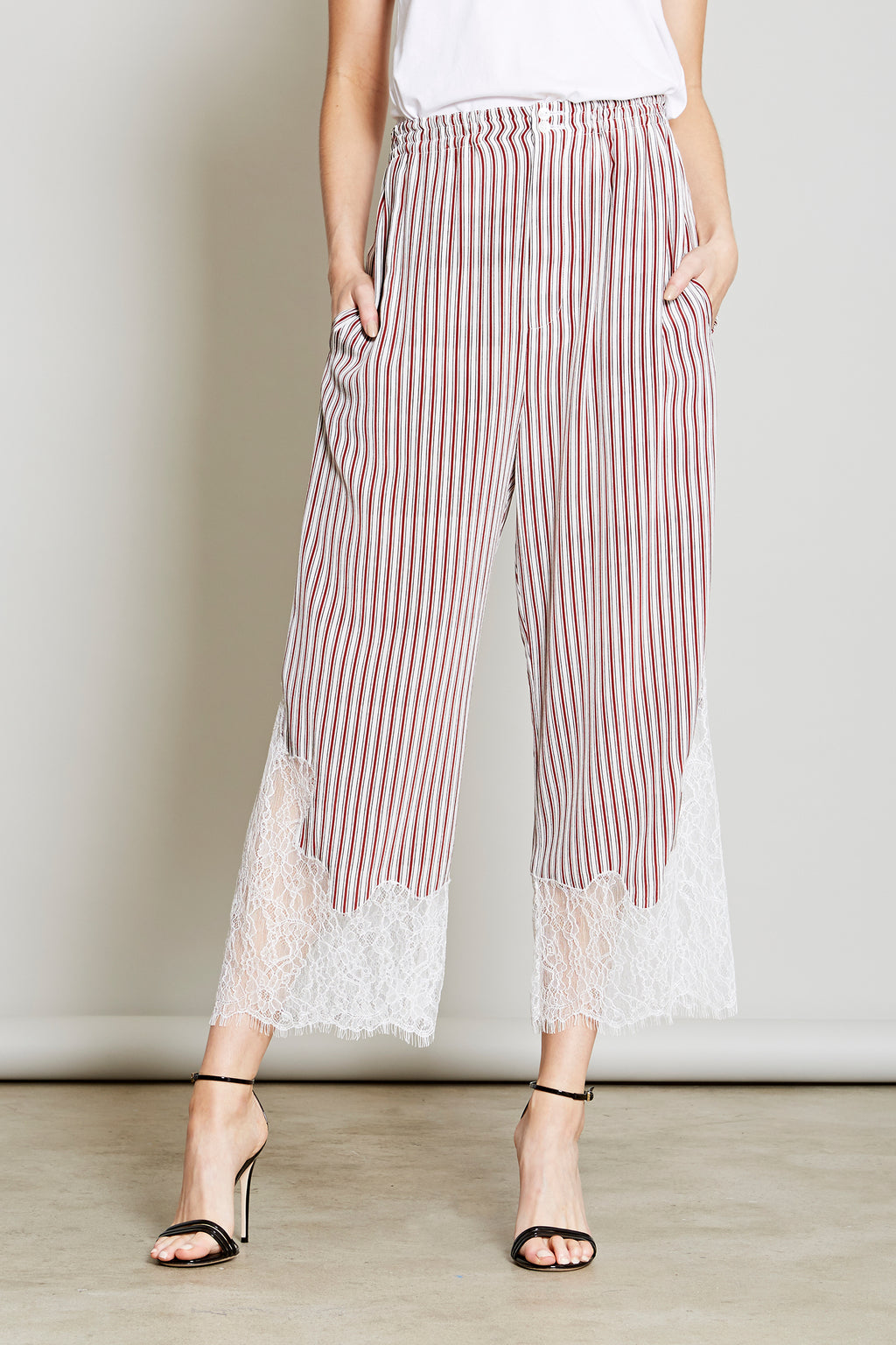 Robert Rodriguez Studio Women's Fashion Designer Red and White Striped Pant with Lace Trim