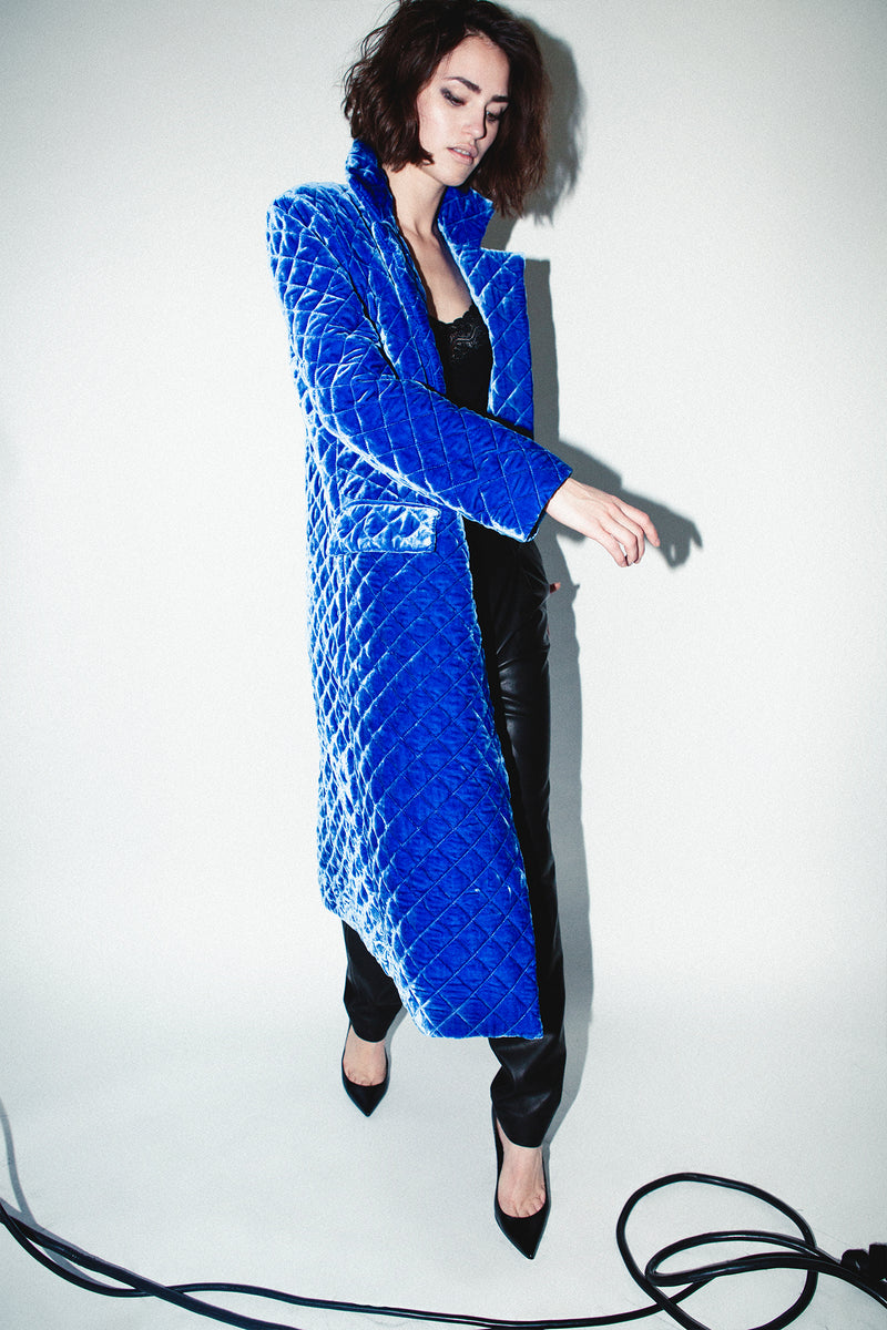 QUILTED WASHED VELVET COAT