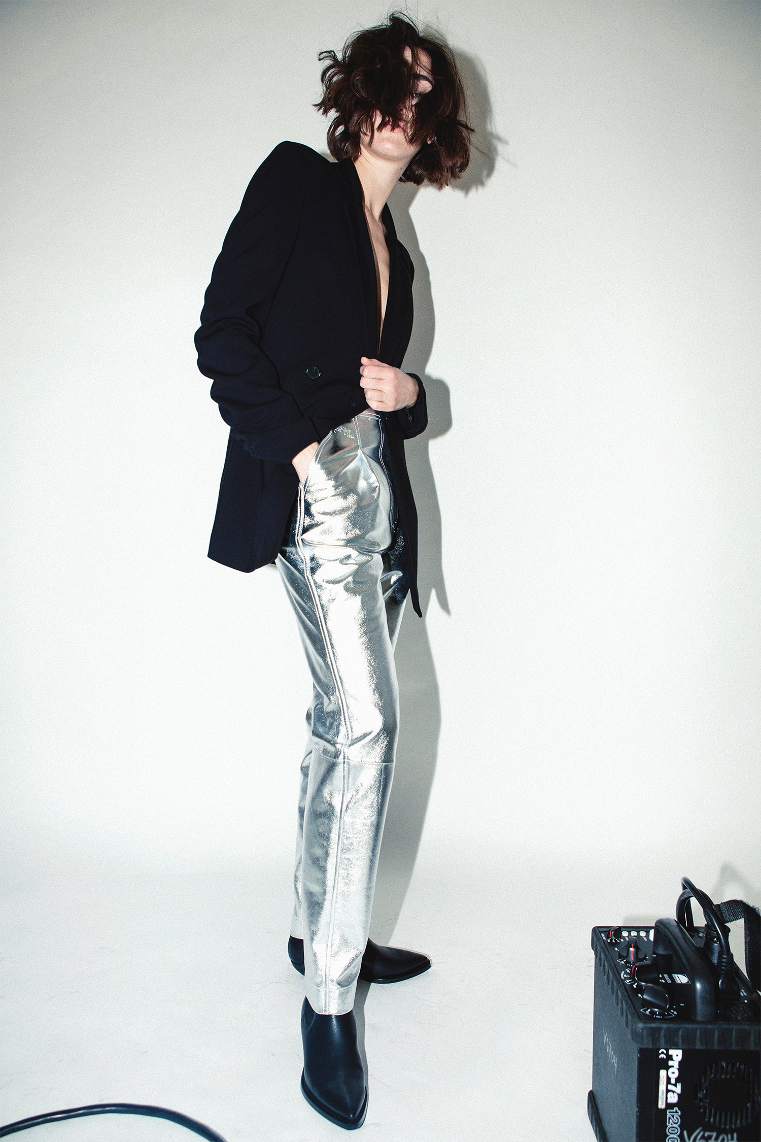 Robert Rodriguez Studio Leather Trousers Pants Bottoms Metallic