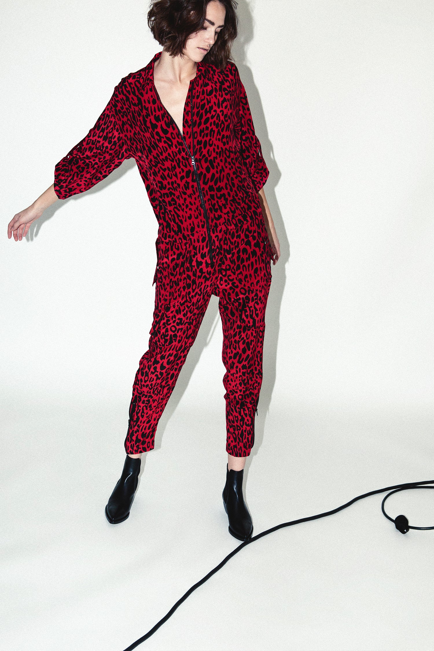 Robert Rodriguez Studio Red Leopard Jumpsuit