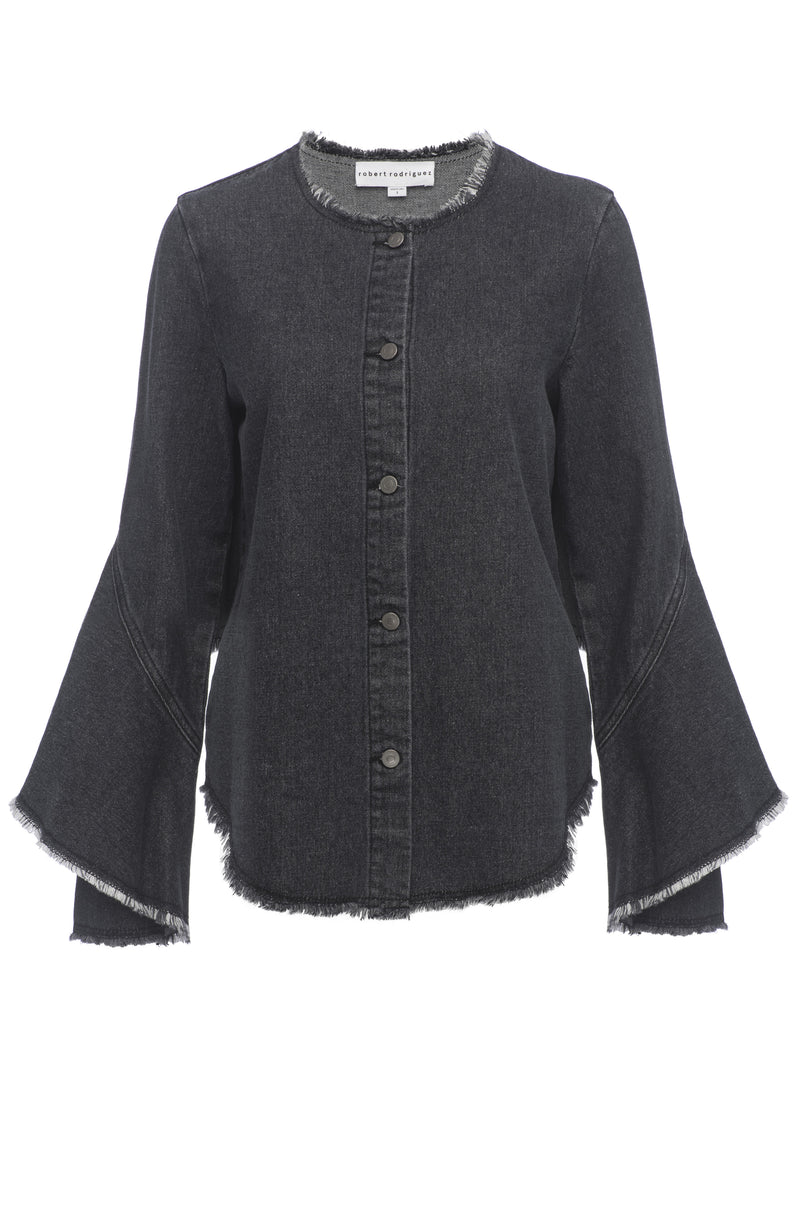 ROBERT RODRIGUEZ STUDIO DENIM RUFFLE SHIRT