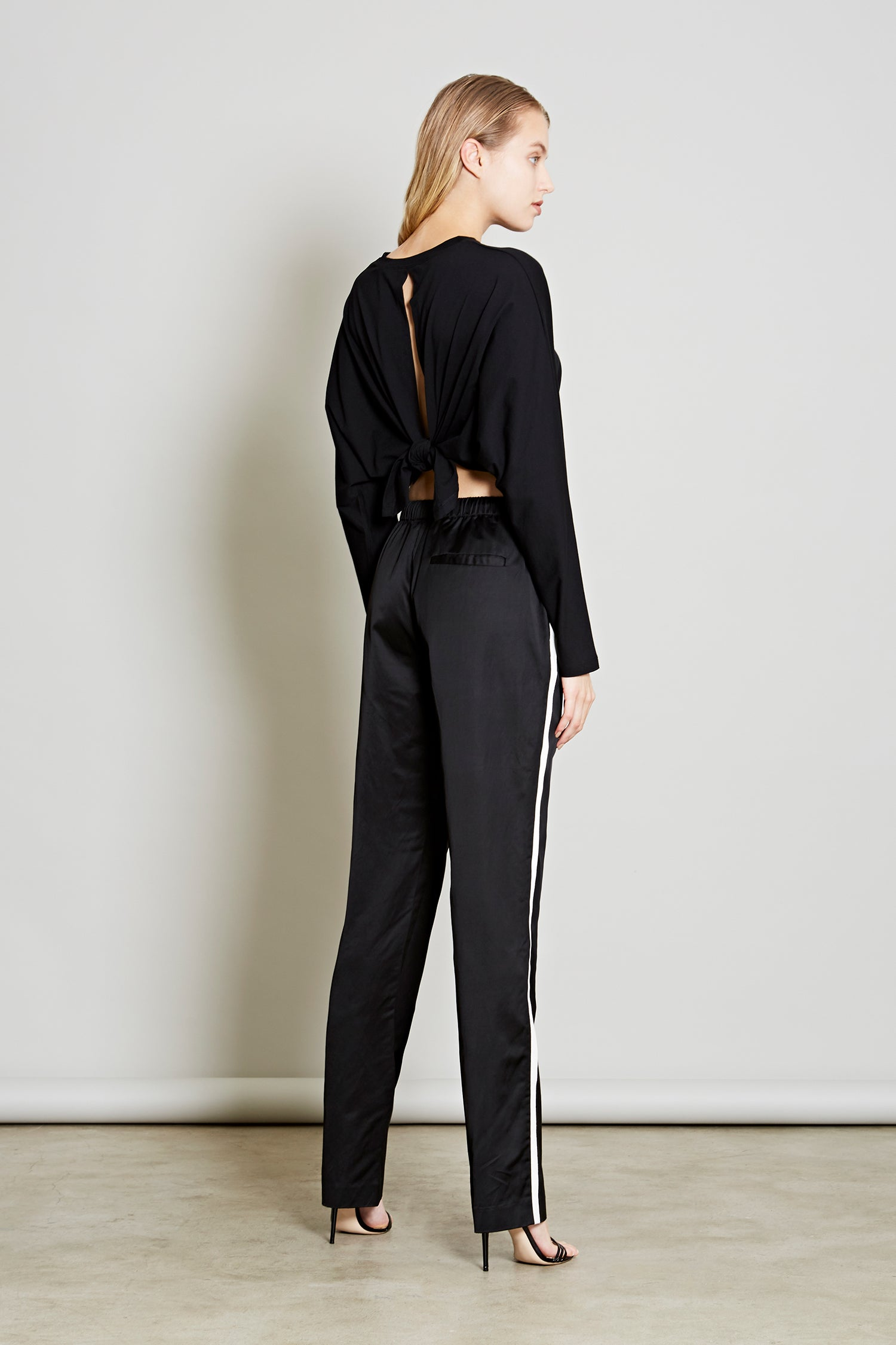 Robert Rodriguez Studio Women's Designer Fashion Resort 2018 Side Stripe Satin Track Pant