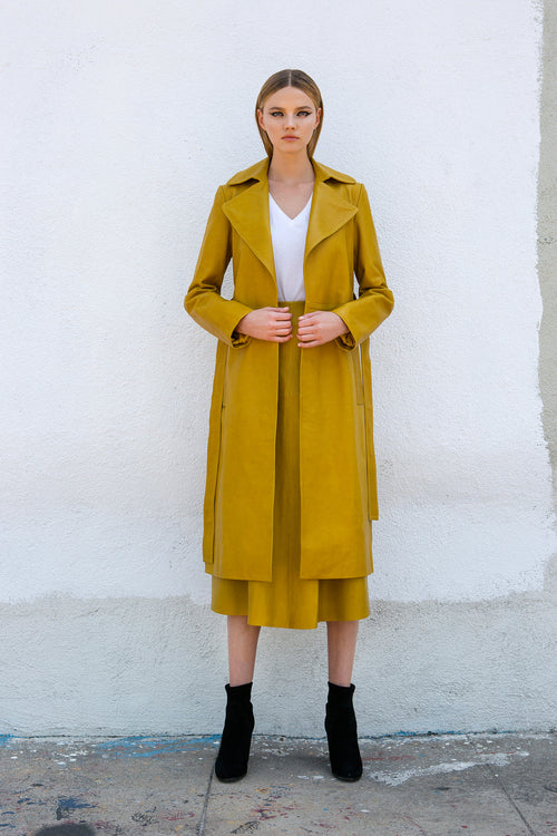 Robert Rodriguez Studio Mustard/ Yellow Leather Trench Coat