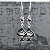 Spade with Crown Earring Set - Stainless Steel