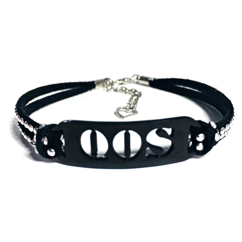 QOS Black Bar Studded Suede Anklet