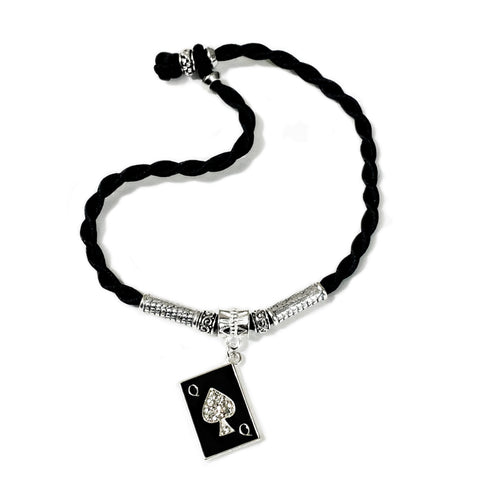 Queen of Spades Playing Card Silk Twist Anklet
