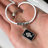 Queen of Spades Card White Studded Suede Anklet