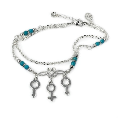 MFM Stainless Steel and Beaded Anklet