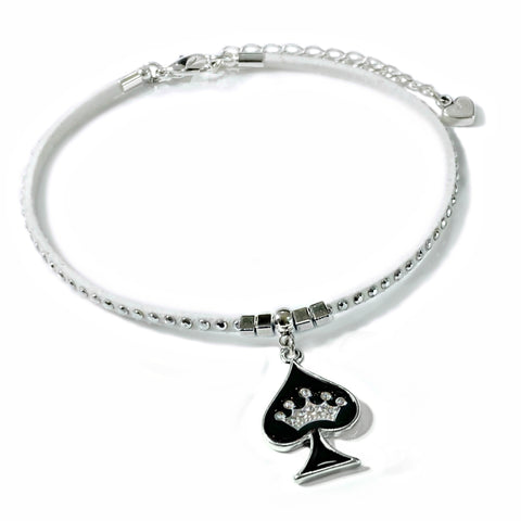 Queen of Spades White Studded Suede Anklet