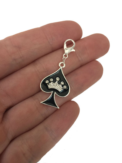 Queen of Spades w Crown Charm