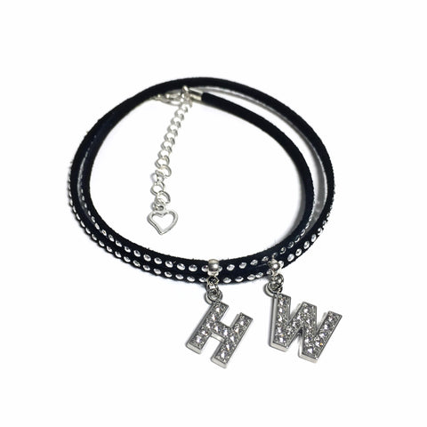 Hotwife Black Studded Suede Anklet