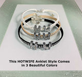 Hotwife Rhinestone Letters and Tan Studded Suede Anklet