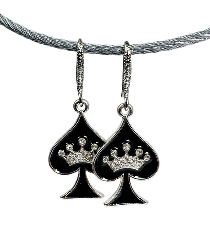 Spade with Crown Earring Set - Rhinestone