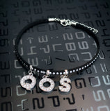 QOS Black Studded Suede Anklet