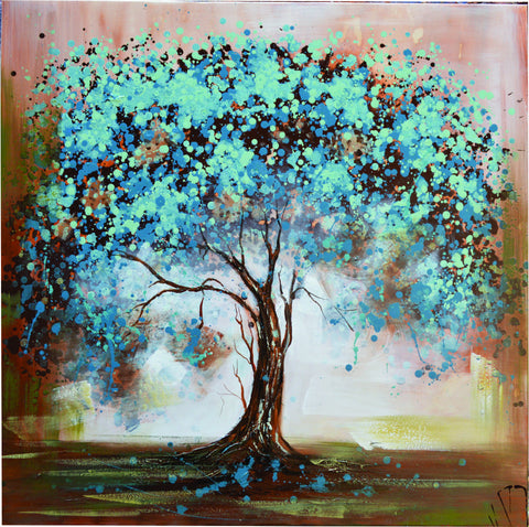 How-to-buy-Art | OLIVIA'S LOFT  | Painting of Tree | Teal Tree Painting | Under The Shade | Affordable Hand Painted Art