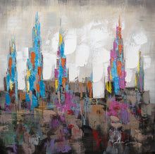 """Citadel Uno"" Abstract Cityscape Painted in Acrylic on Canvas"