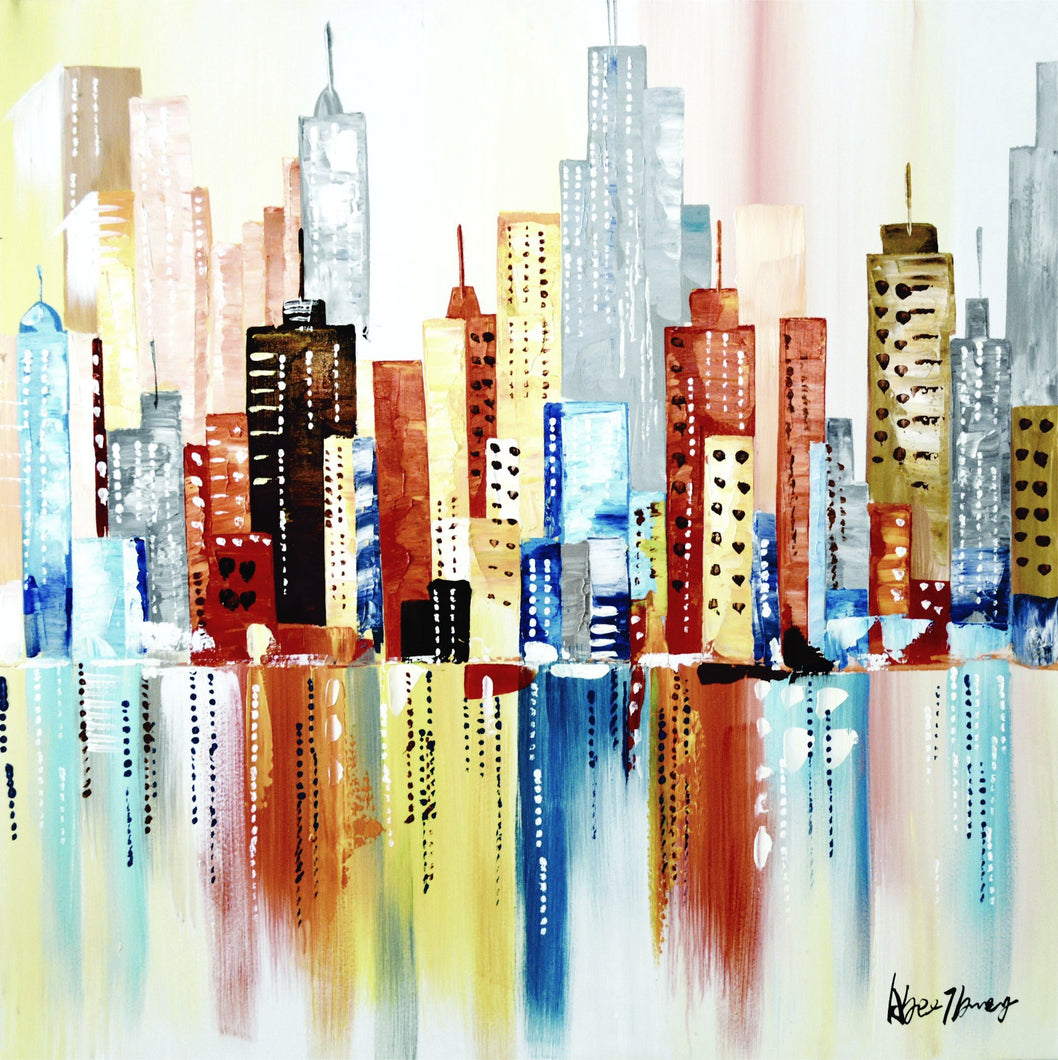 OLIVIA'S_LOFT | Affordable_Art | cityscape | hand_painted_ wall_ art | colourful_art | modern_painting |  interior_design_art | colourful_painting | city_of_colours