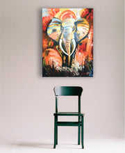 """Drum Fire"" African Elephant Painted on Canvas"