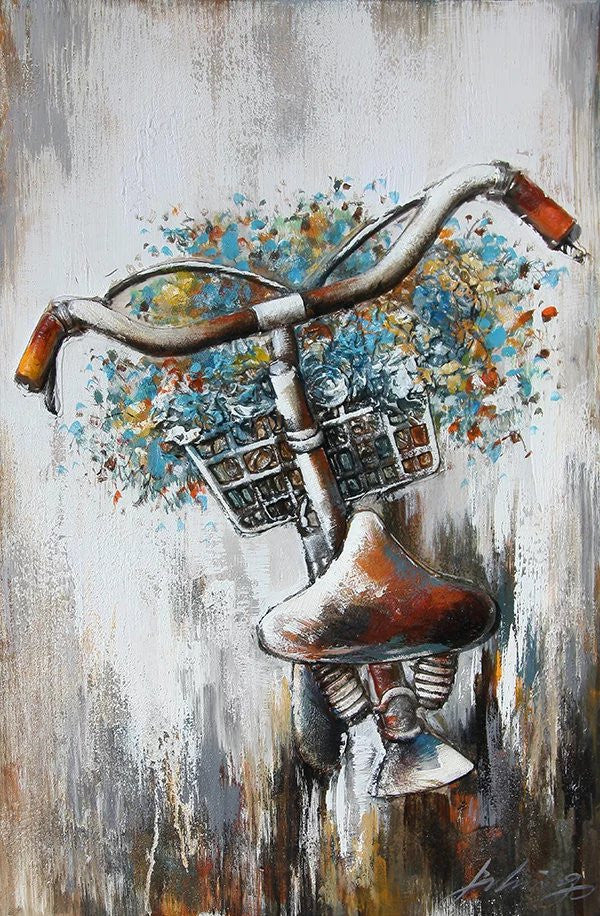 OLIVIA'S LOFT | Art-under-$100 | Original Oil Painting Bicycle, Flowers |