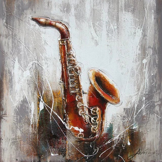 OLIVIA'S LOFT | Art-under-$100 | Original Oil Painting-of-Saxophone on canvas | $90 each | Affordable Original Art