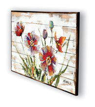 """Fleur Rouge"" Oil Painting - Wood Surface(Siberian Fir) with 3-D Multi Media Elements"