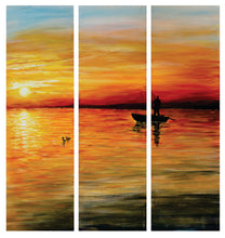 """Gone Fishin"" 3-Panel Acrylic on Canvas"