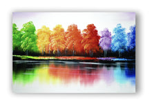 """In Full Hue"" Colourful Trees Painting on Framed Canvas"