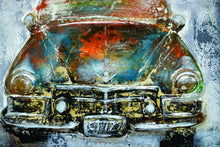 "OLIVIA'S LOFT | Affordable Art | ""On-the-Road"" Retro Car Hand Painting in Oil 3-D Finish 