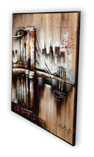 "Brooklyn Bridge ""Water Sky Steel"" Hand Painted 3-D Bridge on Wood (Siberian Fir)"