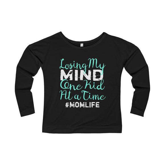 Losing My Mind One Kid At A Time - Lady's Terry Long Sleeve Scoopneck T-Shirt