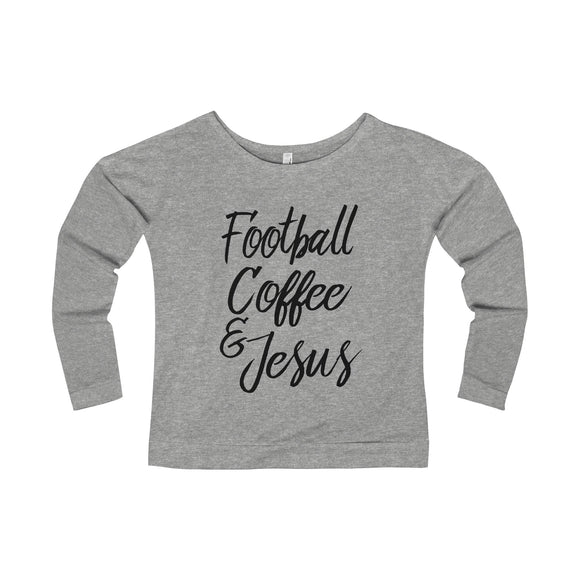 Football, Coffee, & Jesus - Lady's Terry Long Sleeve Scoopneck T-Shirt