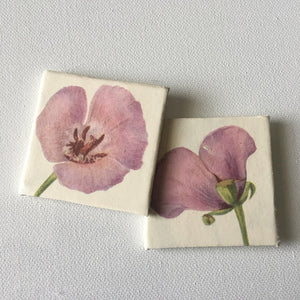Purple Flower - Upcycled Paper Mini Canvas Fridge Magnets