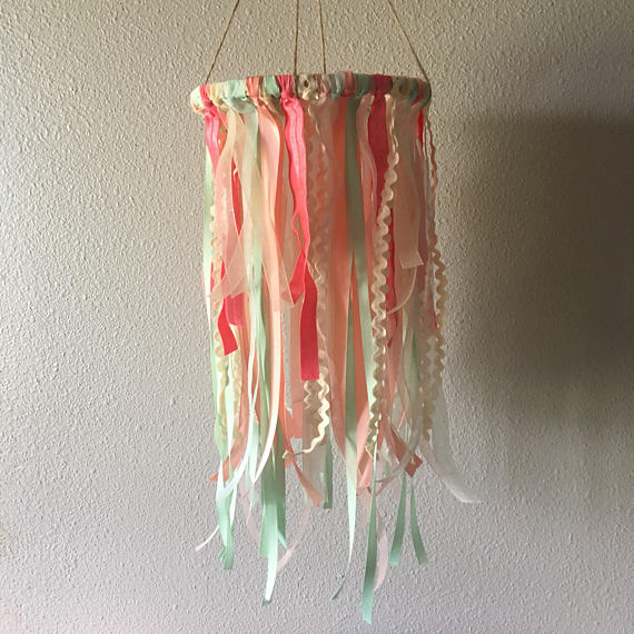 Nursery Ribbon Mobile - Baby Room Decor - Handmade Mobile - Sweet Peach and Mint