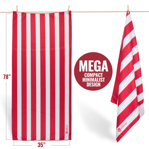 Microfiber Beach Towel - Mega - Red